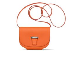 """Mini Convoyeur Hermes wallet in orange Swift calfskin 4.5"""" x 5.9"""" 1 pocket, change purse with zipper, silver and palladium plated hardware One day shopping companion, to be slipped into your shopping bag or to be worn with its strap across the shoulder to keep your hands free."""