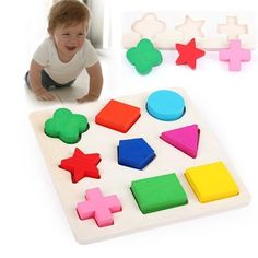 Wooden 9 Shapes Plate Colorful Play Building Blocks Baby Educational Bricks Toy