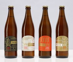 Fort Point Beer Bottles These are beautiful labels - I love the simplicity and the beautiful colors - i like the idea of using the metallic color with the solids