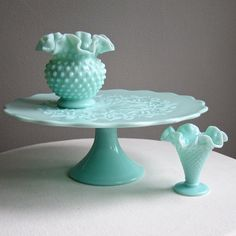 green pastel milk glass pedestal cake stand by