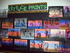 The trees are printed with the rough side of romaine lettuce.  The fence is printed with popsicle sticks.  The background is a simple watercolor wash (wet on wet).
