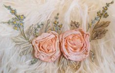 Circa 1910s Lovely Pink Ribbon Rosette Floral Spray. Antique and vintage embroidery ribbons