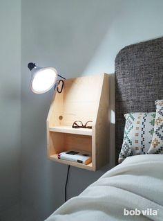 DIY Floating Nightstand Tutorial - Bob Vila Diy Interior, Interior Design Ikea, Diy Furniture, Modern Furniture, Bedroom Furniture, Diy Luz, Diy Coat Rack, Kitchen Wall Cabinets, Diy Home Accessories