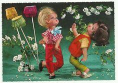VINTAGE KRUGER DOLLS 2 GIRLS DANCING POSTCARD