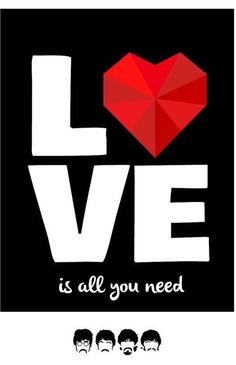 Poster para imprimir - beatles-love is all you need - vintage
