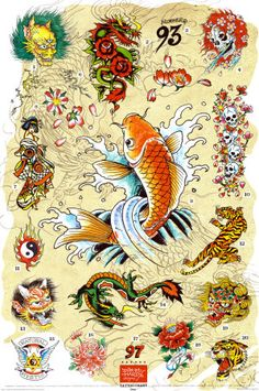 Ed Hardy -Japanese Tattoo Chart Prints by Ed Hardy - AllPosters.co.uk