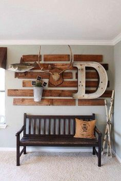 Entryway, foyer, or mud room wall decor #mancave #pallet #barnwood #antler #angler #fish #rustic #country #reuse #repurpose #recycle