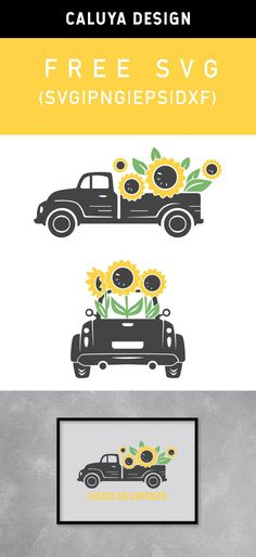 Free Sunflower Truck SVG, PNG, EPS & DXF by Caluya Design. Compatible with Cameo Silhouette, Cricut and other major cutting machines! Perfect for your DIY projects, Giveaway and personalized gift. Perfect for Planner customization! Free Printable Clip Art, Printable Planner Stickers, Free Printables, Silhouette Cameo, Silhouette Projects, Cricut Svg Files Free, Cricut Fonts, How To Make Planner, Circuit Crafts