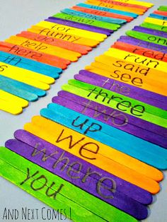 Sight Word Popsicle Stick Puzzles from And Next Comes L