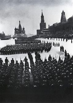 World War II, in Russia – the Great Patriotic War (22 June 1941 – 9 May 1945). Military parade on the Red Square, Moscow, Russia. 7 November 1941. Russian soldiers went to the front just after the parade. Photo by Arkady Shaikhet.