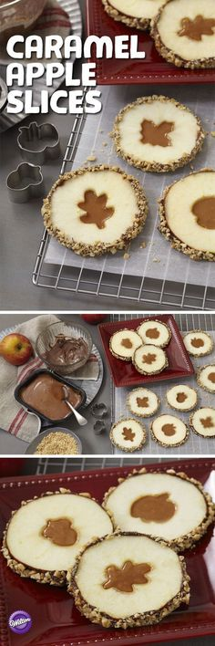 Crisp, fall apple slices get a yummy coat of light cocoa candy with a gooey caramel center. So pretty and perfect for Fall and Winter! Caramel Apple Slices with Cutouts Recipe | Wilton