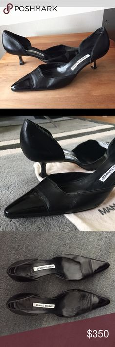 RARE low heel pointed toe patent d'Orsay pump! EUC Gorgeous pumps in like new excellent condition with shoe bag.  Bought them at the Manolo Blahnik store in Las Vegas in 2012.  Wore them twice.  They are a size 9 but run small.  Would fit a small size 9 or 8 1/2.  They are black soft leather with a patent pointed toe. The low heel version of this d'Orsay pump is impossible to find. Manolo Blahnik Shoes Heels