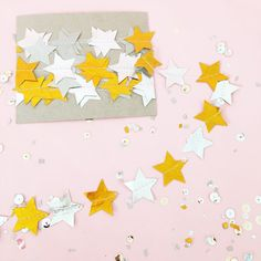 Paper Stitched Star Garland, Metallic