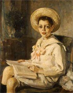 Menino lendo, 1906, Thalia-Flora Karavia (Grécia, 1871- 1960), Óleo, National Art Gallery e Museu Alexandros Soutzos, Atenas