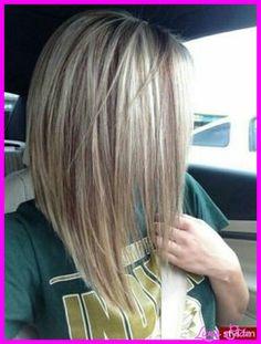 cool Long angled bob haircut back view