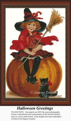 Halloween Greetings, Vintage Counted Cross Stitch Pattern