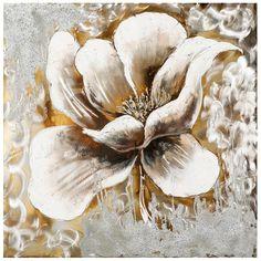 Fondez pour la délicatesse de cette toile de peinture or et argent ! Venez découvrir sans attendre les tableaux en métal sélectionnés par Pierimport !