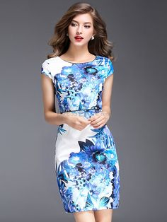 Buy Elegant O-Neck Short Sleeve Floral Print Bodycon Dress with High Quality and Lovely Service at DressSure.com