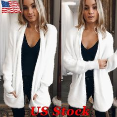 Details about US Winter Women Loose Knitted Sweater Coat White Pocket  Cardigan Warm Jacket New e8b5ca91a