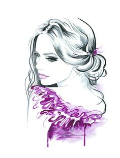 Original Aquarell Fashion Illustration moderne Kunst Portrait Malerei mit dem Titel Sensual drucken