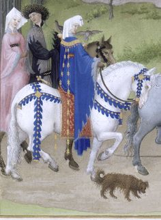 Horses and riders, hawking. Detail from the Limbourg Brothers' August, in the Très Riches Heures du duc de Berry, 1412-16. Tempera on vellum. Musée Condé, Chantilly: MS 65, fol. 8v.