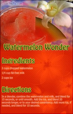 Watermelon Wonder Smoothie Recipe Pictures, Photos, and Images for Facebook, Tumblr, Pinterest, and Twitter