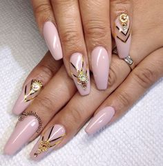 Pink with gold Coffin nails