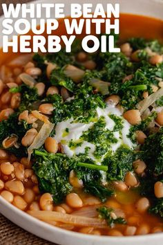 This comforting kale and white bean soup is spiced with harissa and topped with a quick lemon and parsley oil for an extra hit of herby flavour. Serve with plenty of crusty bread. #thecookreport #whitebeansoup #souprecipe #veganrecipe White Bean Soup, White Beans, Soup Recipes, Vegetarian Recipes, Meat Lovers, One Pot Meals, Chana Masala, Kale, Spices