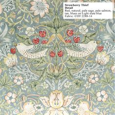 William Morris, 'The Strawberry Thief' Design for Fabric and Wallpaper~ William Morris Wallpaper, William Morris Art, Morris Wallpapers, Fabric Birds, Fabric Art, Fabric Design, Art Nouveau, William Morris Patterns, Jugendstil Design