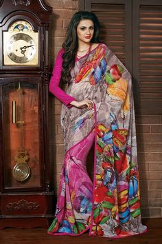 Cream Silk Printed Saree