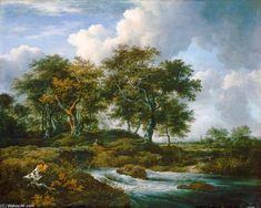 Oaks At A Brook Verser de Jacob Isaakszoon Van Ruisdael (Ruysdael) (1628-1682, Netherlands)