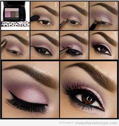 Tutorial maquillaje ojos sombra color lila para ojos marrones 2 #maquillajepasoapaso #maquillajeojos