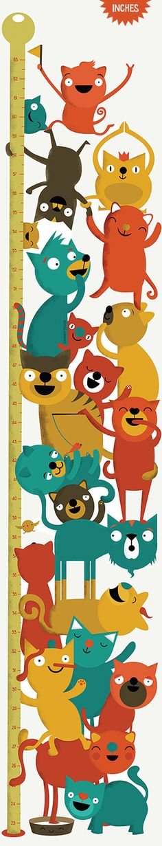 Height Chart of cats: Inch Wall Decor Growth Chart, Wall Vinyl Sticker Wall Stickers, Wall Decals, Wall Vinyl, Cat Towers, Height Chart, Cleaning Walls, Happy Colors, Cat Art, Growth Charts