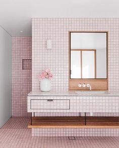 Pink Bathroom #bathroom / Square Tiles #tiles