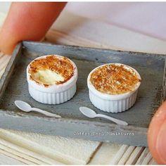 Crème brûlée in by coffee seed miniatures Miniature Kitchen, Miniature Crafts, Miniature Dolls, Miniture Food, Miniture Things, Tiny Food, Fake Food, Polymer Clay Miniatures, Dollhouse Miniatures