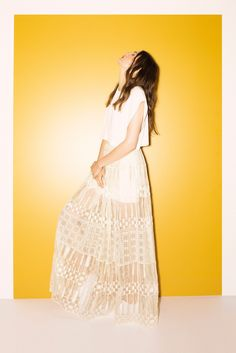 Sass & Bide | Resort 2015 | 12 White sleeveless cropped top and white sheer embroidered maxi skirt
