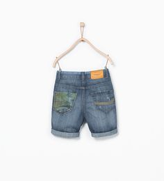 ZARA - KIDS - Palm tree denim Bermuda shorts with pocket Toddler Boy Outfits, Toddler Boys, Kids Boys, Children Wear, Kids Wear, Kids Shorts, Boy Shorts, Boys Jeans, Denim Jeans