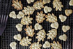 nutmeg maple butter cookies from smitten kitchen. could use more nutmeg and maple, but really nice Cookie Desserts, Just Desserts, Cookie Recipes, Delicious Desserts, Dessert Recipes, Dessert Ideas, Maple Cookies, Sugar Cookies, Acorn Cookies