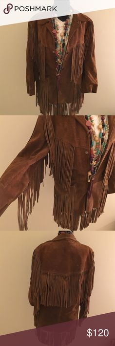 Fringed Leather Jacket Woaha! Who doesn't love fringe! This vintage jacket is a must have for fall. Fringe everywhere, snaps up the front, lining inside has some tears but otherwise a great coat! Joo Kay Jackets & Coats