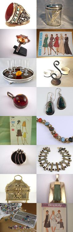 Fall Wishlist. Rings, patterns, serving, and home decor in tones for fall! Curator: Nadia Inskeep from https://www.etsy.com/shop/vintageunder50 #Etsy #EtsyTreasury #Vintage #SewingPattern #Craft #Sewing #MidCentury #Gift