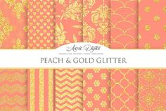 Peach and Gold Glitter Papers. Patterns