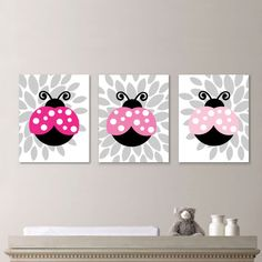 Baby Girl Nursery Art Print  Lady Bug by RhondavousDesigns2