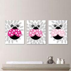 Baby Girl Nursery Art Print  Lady Bug by RhondavousDesigns2