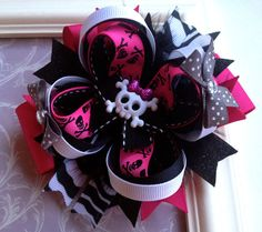 Hey, I found this really awesome Etsy listing at http://www.etsy.com/listing/154602384/funky-pink-skull-and-black-boutique-hair