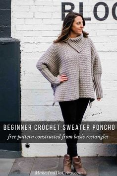 Crochet Shawl Crochet Poncho With Sleeves - Free Pattern Made From Easy Rectangles - This easy crochet poncho with sleeves is great for beginners because it's made entirely from basic rectangles. Free pattern and tutorial in sizes Crochet Poncho With Sleeves, Crochet Cardigan, Crochet Shawl, Knit Crochet, Irish Crochet, Easy Crochet, Free Crochet Poncho Patterns, Crochet Sweaters, Cardigan Pattern