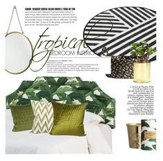 """""""tropical bedroom"""" by gentillehome ❤ liked on Polyvore featuring interior, interiors, interior design, home, home decor, interior decorating, H&M and bedroom"""
