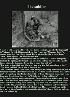 The story of the handicaped soldier share if you would have respected him.