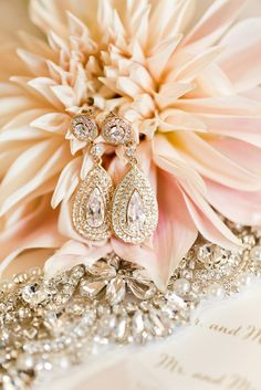 blush and gold wedding jewelry earrings