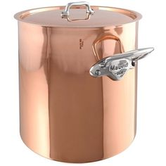 Mauviel 'M'Heritage - M'150S' Copper & Stainless Steel Stew Pot With... ($420) ❤ liked on Polyvore featuring home, kitchen & dining, cookware, copper cookware, mauviel cookware, stainless cookware, stainless steel dutch oven and copper stainless steel cookware