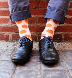 Orange Polkadot Sock. #socks #NicSocks #mensfashion #fashiontips #mensfashiontips #statementitems